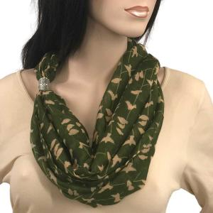 wholesale Magnetic Clasp Scarves (Cotton Touch) #10 Bird Print Green -