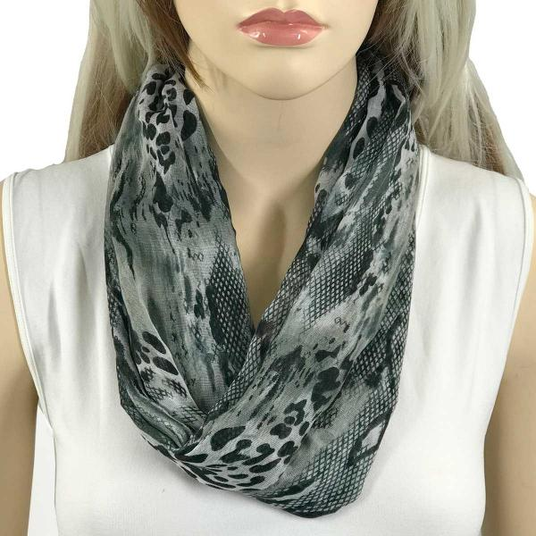 wholesale Magnetic Clasp Scarves (Cotton Touch) #33 Reptile Print Black and Grey -