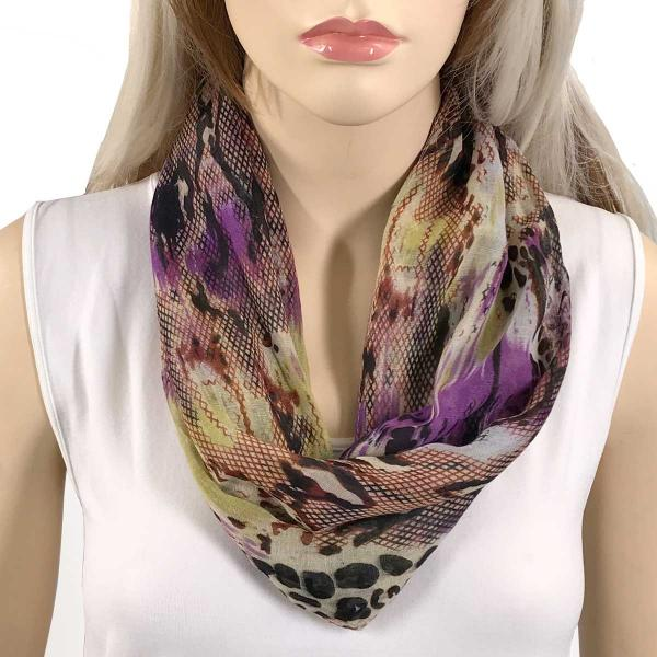 wholesale Magnetic Clasp Scarves (Cotton Touch) #38 Reptile Print Purple and Beige -