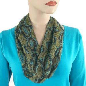 wholesale Magnetic Clasp Scarves (Cotton Touch) #34 Reptile Print Blue and Green -