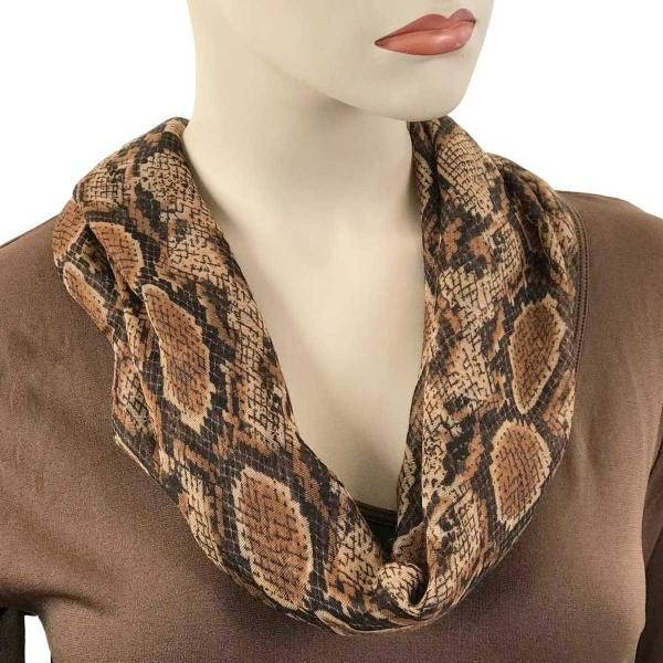 wholesale Magnetic Clasp Scarves (Cotton Touch) #35 Reptile Print Brown -