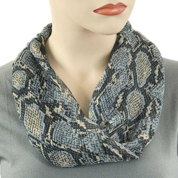 wholesale Magnetic Clasp Scarves (Cotton Touch) #36 Reptile Print Grey -