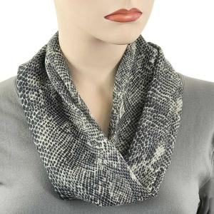 wholesale Magnetic Clasp Scarves (Cotton Touch) #39 Snake Print Black -