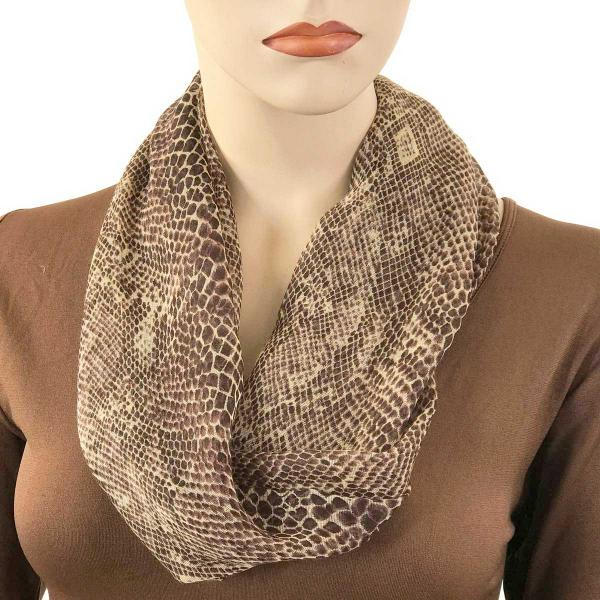 wholesale Magnetic Clasp Scarves (Cotton Touch) #41 Snake Print Brown -