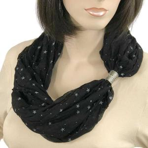 wholesale Magnetic Clasp Scarves (Cotton Touch) #42 Starry Print Black -