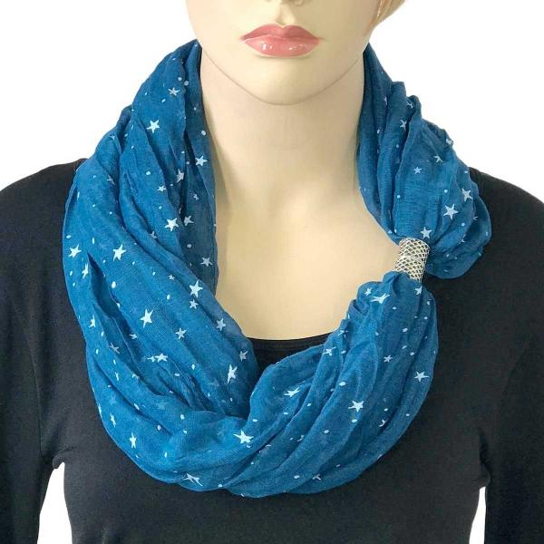 wholesale Magnetic Clasp Scarves (Cotton Touch) #43 Starry Print Blue -