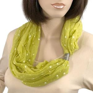 wholesale Magnetic Clasp Scarves (Cotton Touch) #44 Starry Print Green Apple -