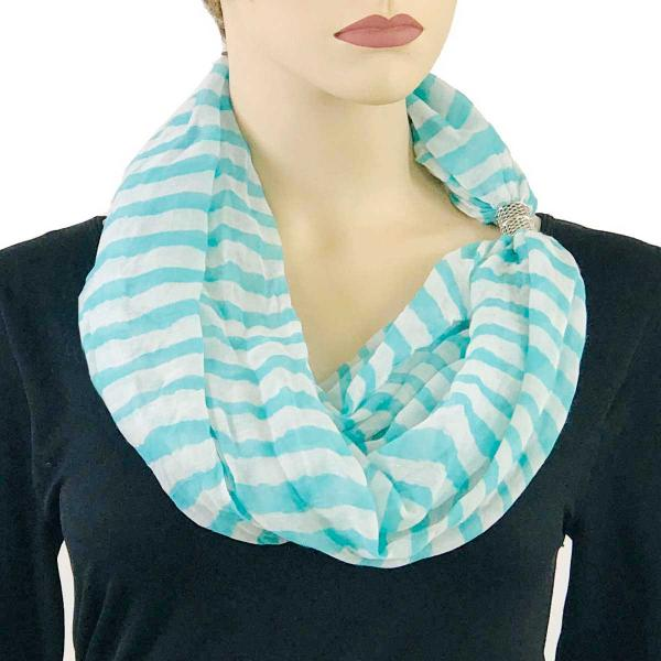 wholesale Magnetic Clasp Scarves (Cotton Touch) #19 Stripes Aqua-White -