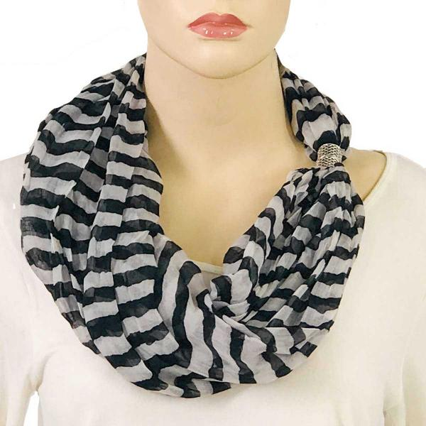 wholesale Magnetic Clasp Scarves (Cotton Touch) #17 Stripes Black-White -