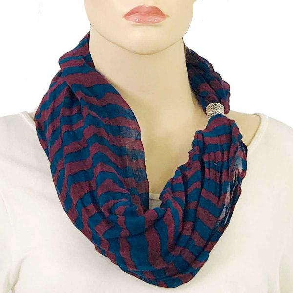 wholesale Magnetic Clasp Scarves (Cotton Touch) #16 Stripes Burgundy-Navy -