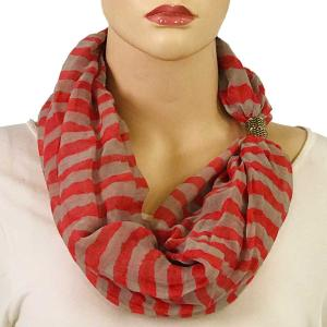 wholesale Magnetic Clasp Scarves (Cotton Touch) #15 Stripes Coral-Grey -