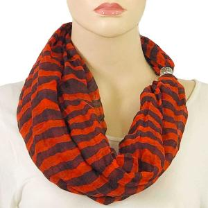 wholesale Magnetic Clasp Scarves (Cotton Touch) #14 Stripes Java-Red -