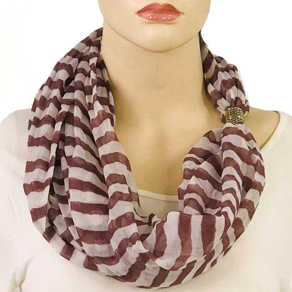 wholesale Magnetic Clasp Scarves (Cotton Touch) #13 Stripes Mauve-White -