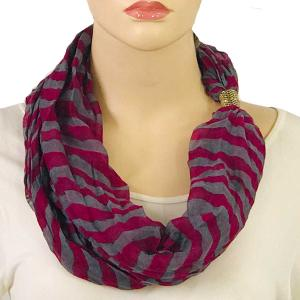 wholesale Magnetic Clasp Scarves (Cotton Touch) #20 Stripes Plum-Grey -