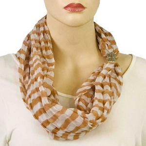 wholesale Magnetic Clasp Scarves (Cotton Touch) #18 Stripes Beige-White -