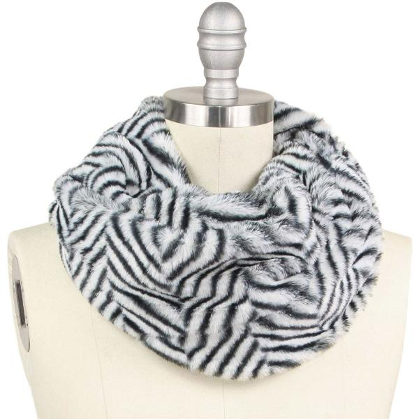 wholesale Faux Fur Cowl Neck Scarves 9406 Herringbone Black -
