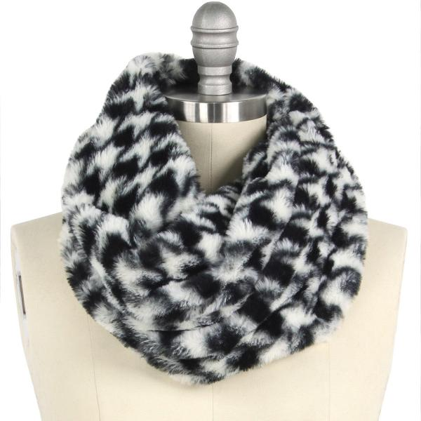 wholesale Faux Fur Cowl Neck Scarves 9456 Houndstooth Black -