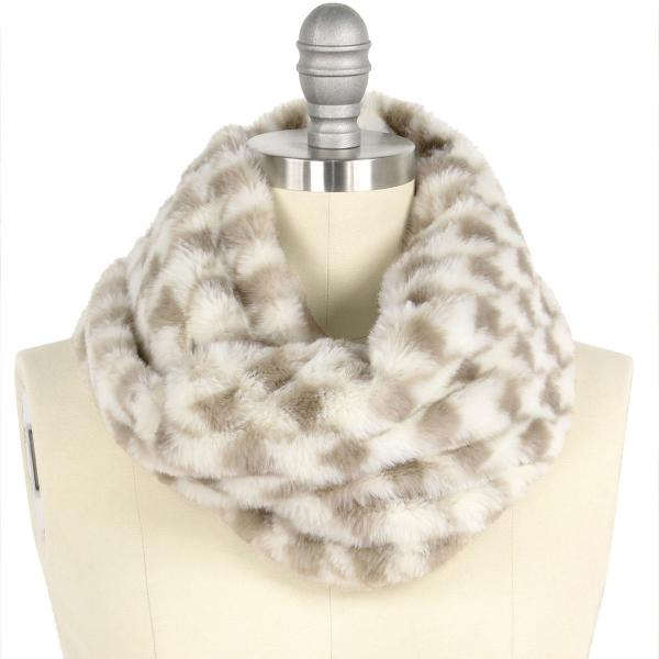 wholesale Faux Fur Cowl Neck Scarves 9456 Houndstooth Grey -