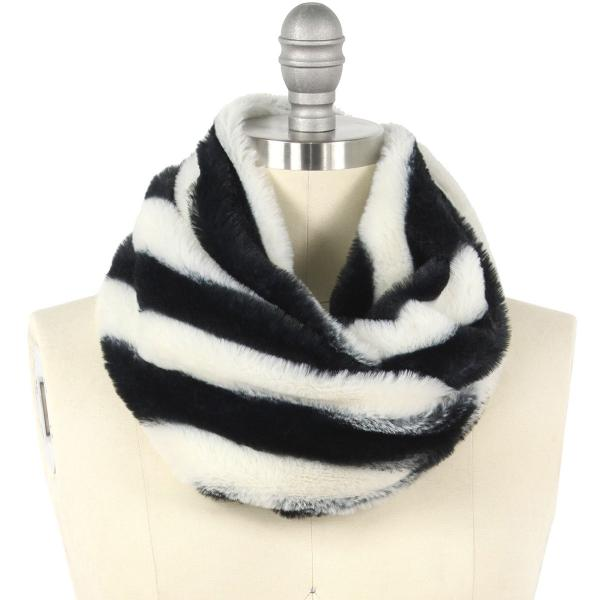 wholesale Faux Fur Cowl Neck Scarves 9457 Striped Black -