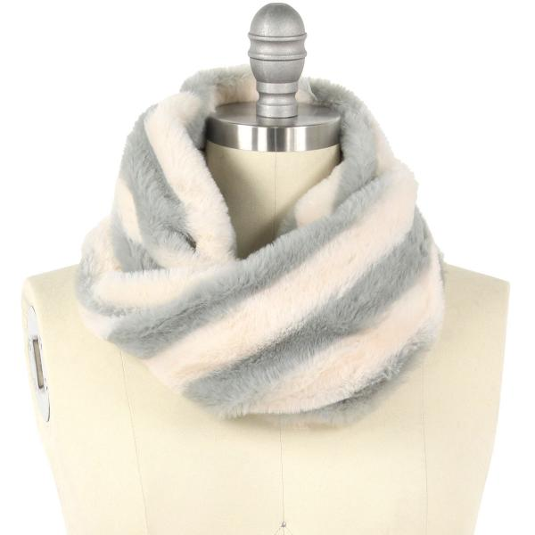 wholesale Faux Fur Cowl Neck Scarves 9457 Striped Grey -