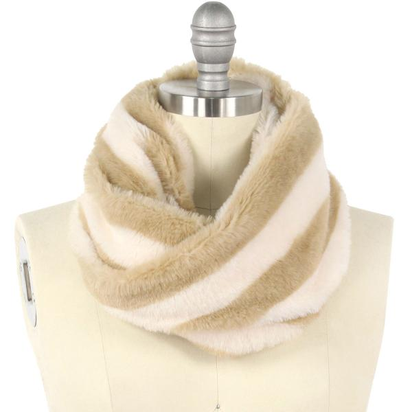 wholesale Faux Fur Cowl Neck Scarves 9457 Striped Taupe -