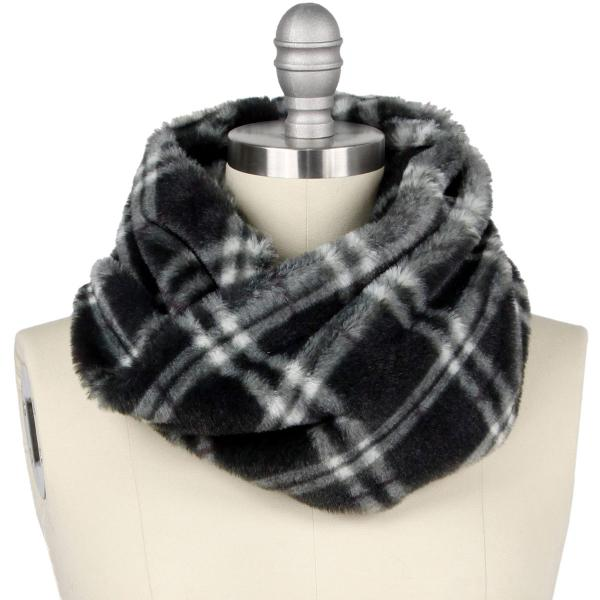 wholesale Faux Fur Cowl Neck Scarves 9458 Plaid Black -