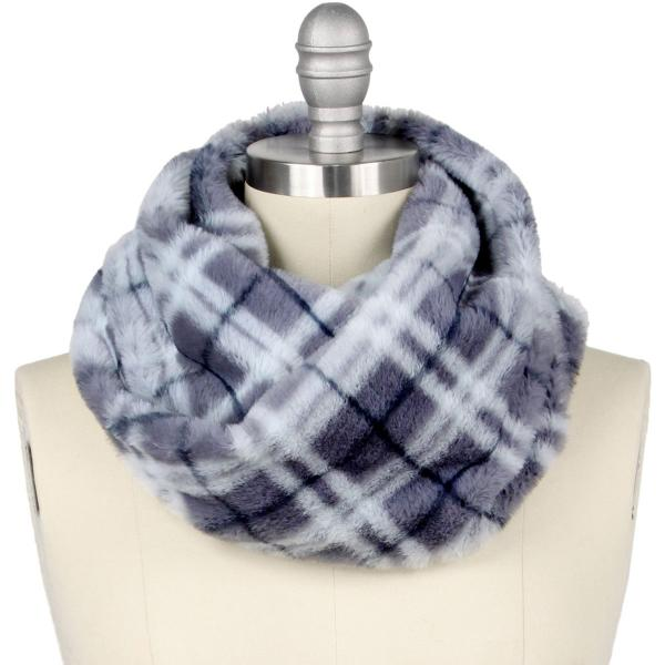 wholesale Faux Fur Cowl Neck Scarves 9458 Plaid Grey -