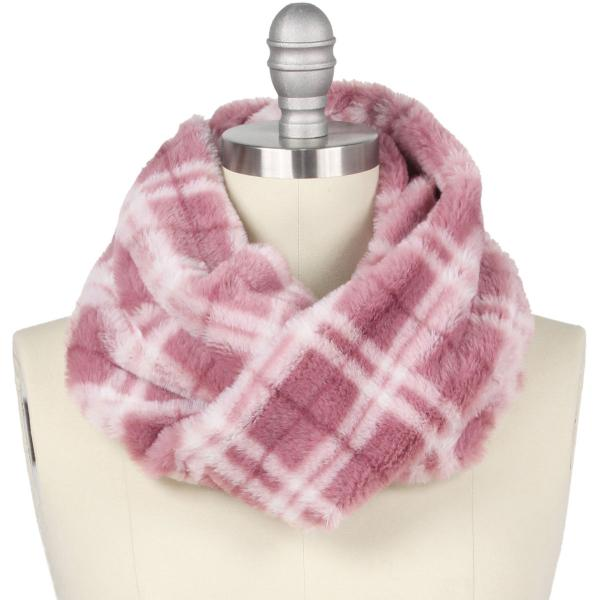 wholesale Faux Fur Cowl Neck Scarves 9458 Plaid Rose -