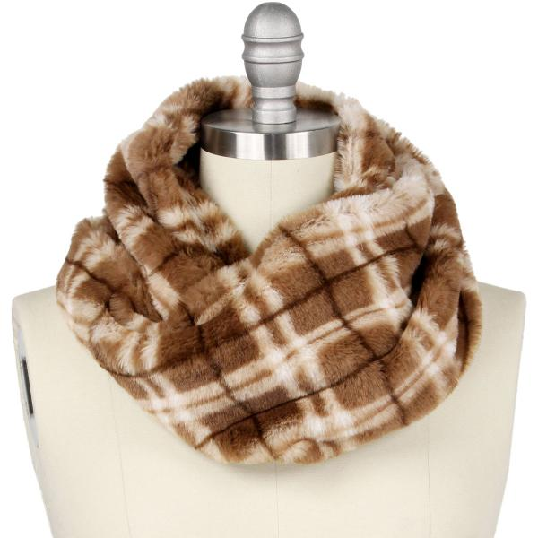 wholesale Faux Fur Cowl Neck Scarves 9458 Plaid Taupe -