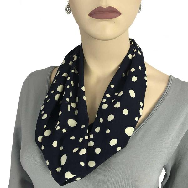 wholesale Magnetic Clasp Scarves (Satin Feel) #02 Dalmatian Print 3160 - Navy/Ivory -
