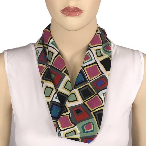 wholesale Magnetic Clasp Scarves (Satin Feel) #04 Geometric 3158 - Multi 1* -