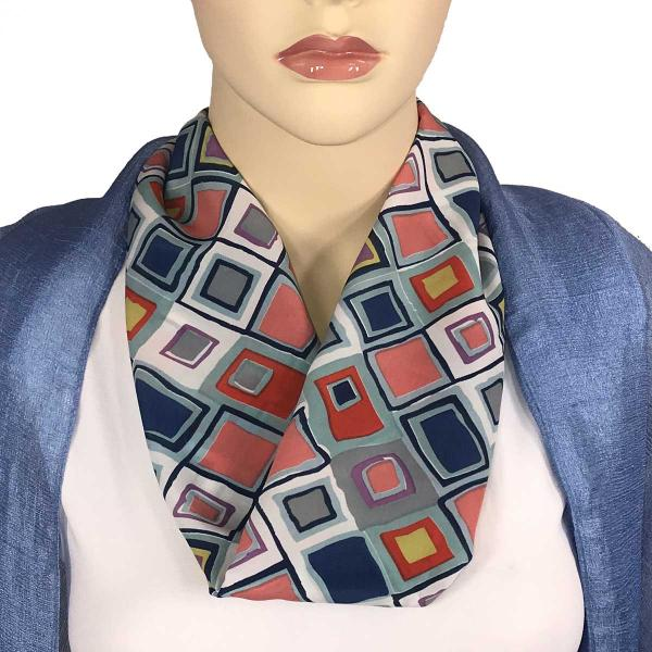 wholesale Magnetic Clasp Scarves (Satin Feel) #05 Geometric 3158 - Multi 2 -