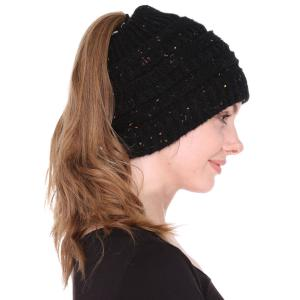 Metallic Print Shawls with Buttons JH222 Black Ponytail Knitted Cap - One Size Fits All