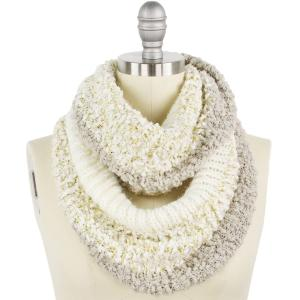 wholesale Infinity Scarves - Color Block w/ Lurex 9494 Ivory -