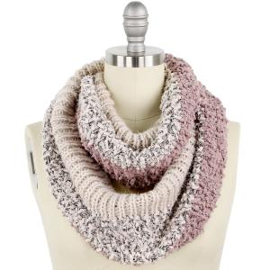 wholesale Infinity Scarves - Color Block w/ Lurex 9494 Beige/Dusty Pink* -
