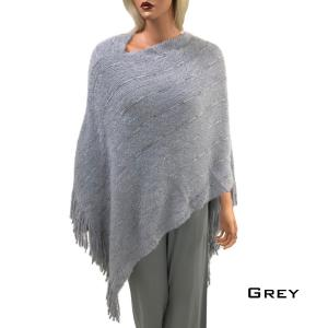 Metallic Print Shawls with Buttons Grey Eyelash Knit Poncho 9467 -