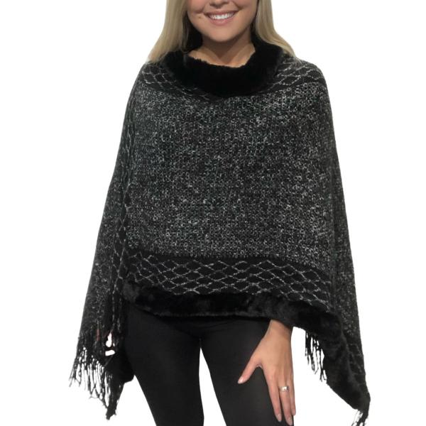wholesale Poncho - Faux Fur Trim 9468 Black Poncho with Faux Fur Trim 9468 -