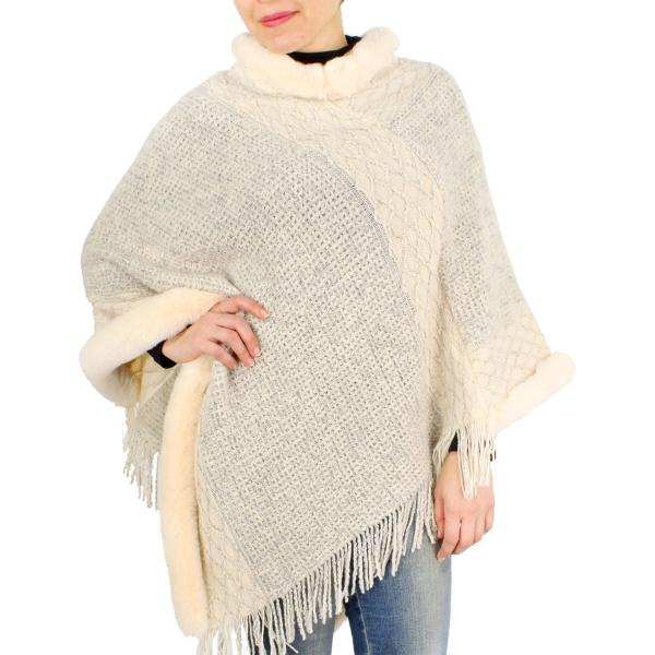 wholesale Poncho - Faux Fur Trim 9468 Ivory Poncho with Faux Fur Trim 9468 -