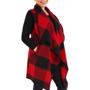 wholesale Vests - Buffalo Check 9411 Red/Black Buffalo Check - One Size Fits All
