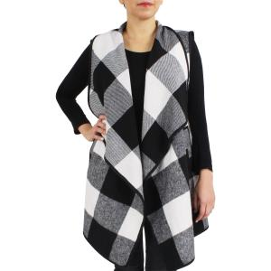 wholesale Vests - Buffalo Check 9411 Black/White Buffalo Check - One Size Fits All
