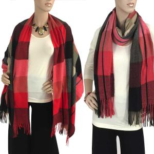 wholesale Cashmere Blend Shawls #1B Plaid Red-Black-Grey-Beige -