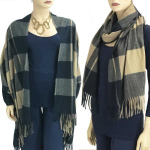 wholesale Cashmere Blend Shawls #1A Plaid Blue-Beige -