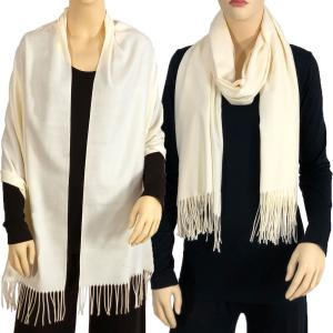 wholesale Cashmere Blend Shawls Solid Cream (#2) -