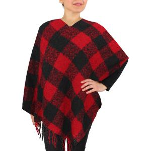 Red/Black Buffalo Check Poncho 9575 -
