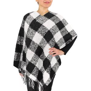 White/Black Buffalo Check Poncho 9575 -