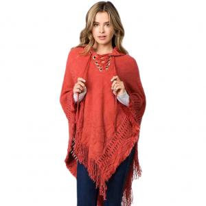 wholesale Hooded Poncho - Solid w/ Lace Up 90B7 Paprika Hooded Poncho -