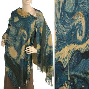 Wholesale  #01 Scarf Shawl w/ Black Buttons Starry Night  -