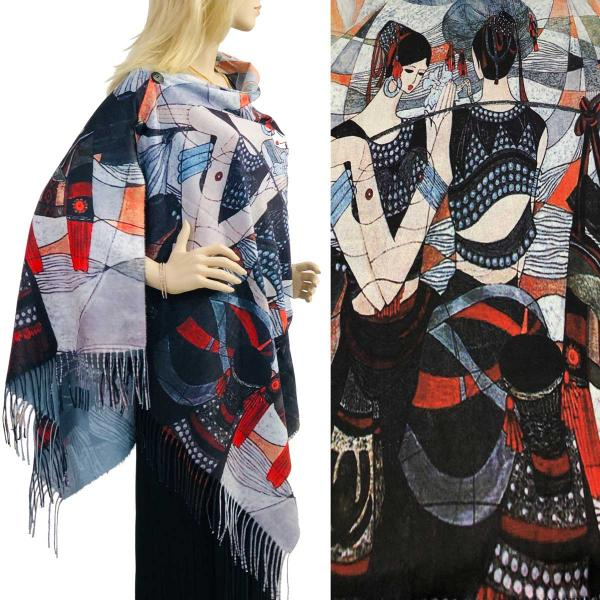 wholesale SUEDE CLOTH Art Design Shawls with Buttons  #53 Scarf Shawl w/ Black Buttons -