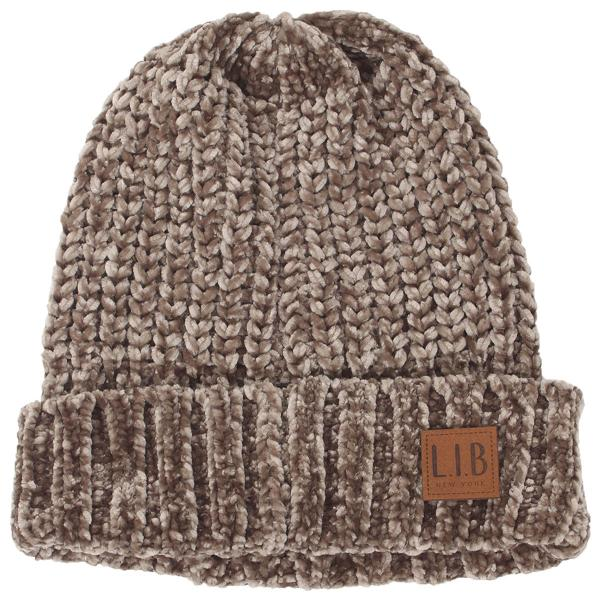 wholesale Knit Beanie - Chenille 9166 Taupe -