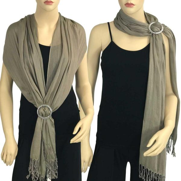 Shawl - Cotton/Silk #100 with Scarf Buckle Ring Ash Brown -